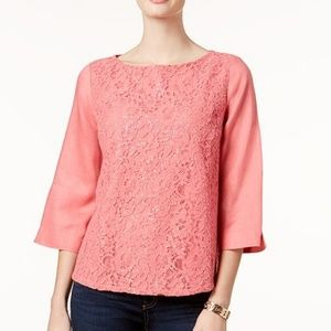 NWT Charter Club Linen and Lace Top